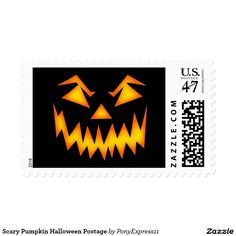 Scary Pumpkin Halloween Postage