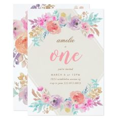 #Girl Watercolor Flowers First Birthday Invitation - #flower #invitation #floral #invitations