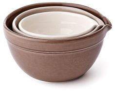 One Kings Lane - The General Store - 3-Pc Mixing Bowl Set, Neutral Hues