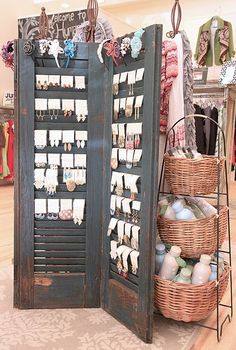 Old shutters earrings display / storage. Great for a display in a store, or at a craft or boutique sale! Nice at home for hook / fishhook / wire pierced earrings.