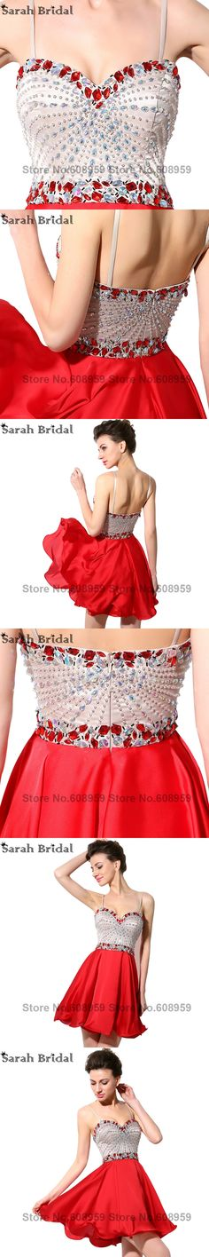 Luxury Crystal A Line Prom Dresses 2017 Hot Sale Sweetheart Spaghetti Straps Short Mini Evening Dresses Vestidos De Longo SY001