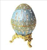 Powder Blue Faberge style Egg Box with Ring Insert Swarovski Crystals Gold Figurine