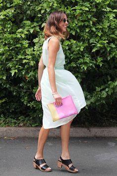 Mint green dress and color block clutch