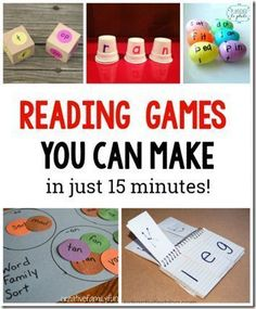 10 Simple to Make Reading Games for Kids. These are great for learning sight words word families and more Love these hands on ideas for Preschool Kindergarten grade grade and grade kids (great with Dolche words in homeschool) Reading Centers, Reading Skills, Guided Reading, Teaching Reading, Early Reading, Reading Groups, Title 1 Reading, Reading Comprehension Games, Reading Resources