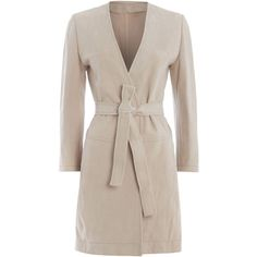 Max Mara Ustica suede belted coat ($510) ❤ liked on Polyvore featuring outerwear, coats, beige, clearance, coat with belt, belted coat, belt coat, beige coat and maxmara coat