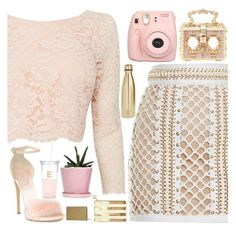 """""""Golden delicacy"""" by floralandmay ❤ liked on Polyvore featuring Balmain, Dolce&Gabbana, Coast, Giuseppe Zanotti, Fujifilm, Kate Spade, S'well and maysquad"""