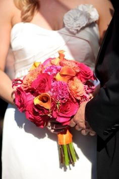 Pink and Orange Wedding, brides flowers, bridal bouquet, vibrant wedding flowers, Photographed by Erich Camping, floral design by Stacy K Floral
