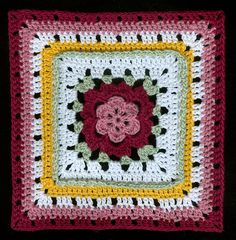 Ravelry: Veronica's Rose pattern by Melissa Green.  Free crochet pattern, afghan block
