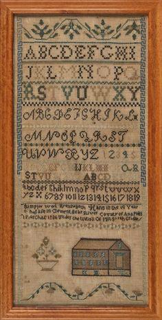 Nova Scotia silk on linen sampler, dated 1836 : Lot 753