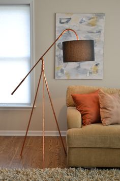 Copper Pipe Tube Tripod Industrial Minimalist Floor Lamp with Hanging Shade by AtDCopperCreations on Etsy https://www.etsy.com/listing/463146948/copper-pipe-tube-tripod-industrial