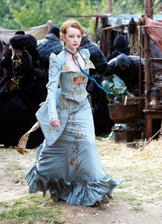 """Crystaline : Steampunk Fashion Archives: Photo,Maria's blue gown from The Secret of Moonacre Movie. 2008 Costume design by Beatrix Aruna Pastzor, Dakota Blue Richards in character as """"Maria Merryweather"""" Steampunk Fashion, Victorian Fashion, Vintage Fashion, Neo Victorian, Period Costumes, Movie Costumes, Awesome Costumes, Historical Costume, Historical Clothing"""