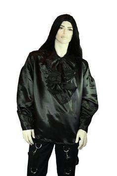 Gothic barock Herren Hemd Gothic schwarz Satin mit Rüschen Rüschenhemd Dark Star: Amazon.de: Bekleidung