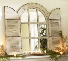 Antique Window Pane Mirror | Pottery Barn Arched Door Mirror Large Vintage Window Frame Distressed ...