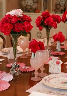 Party table set for a Mother's Day Party!  See more party ideas at CatchMyParty.com!