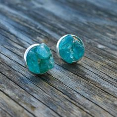 Raw Green Apatite Crystal Studs Silver