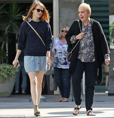 Mother-daughter time: Emma Stone ditched her superstar squad of friends to spend some quality time with her mother, Krista, in Los Angeles on Sunday afternoon