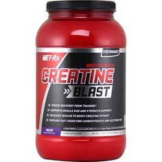 Met-Rx Advance Creatine Blast Grape 3.17 lbs   Regular Price: $29.99, Sale Price: $20.99   #onSale    MET Rx has taken our original Creatine Blast Formula to a whole new level now packed with three hardcore blends Tri Phase Pump Complex Xtreme NOS Blend and BCAA Nitro Blend in addition to all of the hard hitting features of the original MET Rx Advanced Creatine Blast RTC works for strength sport athletes and anyone resistance training to increase muscle mass and strength Each