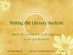 Help writing literary analysis paper