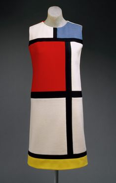 This is the Mondrian day dress from Yves Saint Laurent in autumn This was a wool jersey in the color blocks of white, red, blue, black, and yellow. The Mondrian dress was inspired by surrealist Cuban op art. Piet Mondrian, Mondrian Dress, Vintage Outfits, Vintage Clothing, Vintage Dresses, 1960s Dresses, Iconic Dresses, Sixties Fashion, Mod Fashion