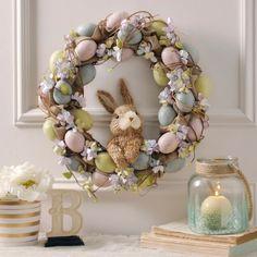 Hydrangea and Eggs Easter Bunny Wreath | Kirklands