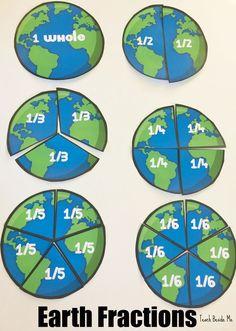 Earth Fractions- an Earth Day math activity. A Math | Geography combo!  via @karyntripp
