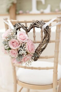 Wicker hearts intertwined with flowers