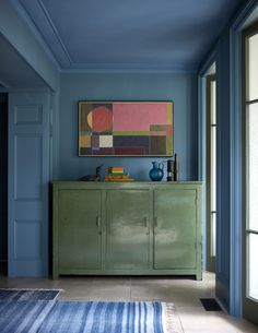 Mad About The House, Reclaimed Doors, Sweet Home, Country House Design, Monday Inspiration, Room Inspiration, Green Cabinets, Cupboards, Blue Walls