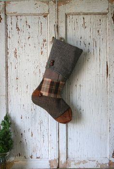 Wool Tweed Christmas Stocking - Recycled Patchwork, Chestnut Suede
