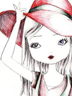 Cute girl in hat Pix Art, Indian Folk Art, Dibujos Cute, Illustrations, Illustration Girl, Art Challenge, Rock Art, Doodle Art, Cute Drawings
