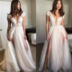 Cap Sleeves Long Lace Appliques High Quality Split Best Sales Hot Party Prom Dress, PD0382