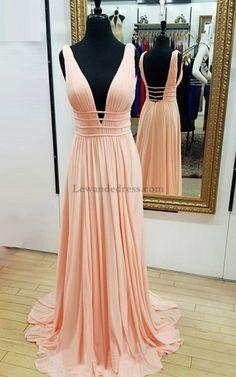 A Line Pleated V Neck Sweep Train Peach Chiffon Open Back Prom Dress