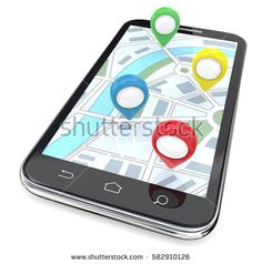 https://www.i-sabuy.com/ Mobile GPS Pointers. Smartphone with GPS pointers on Screen Display Map. Top View.