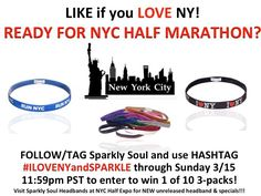 #NYCHalfmarathon is this weekend!!! Enter to win a 1 of 10 @sparklysoulinc 3packs including unreleased limited-edition new NYC Half Marathon headband (released on Thursday), I LOVE NY (Black or Rainbow) & a sparkle headband of choice! LIKE and share your fav part about NY in the comments to enter to win! Use hashtag #ILOVENYandSPARKLE with any social media posts - Share your NYC HALF weekend to enter to win! Enter as often as you would like through 3/15! 10 winners chosen at random on 3/16! Let us know if we will see you at the expo & come get limited edition headband before they sell out!