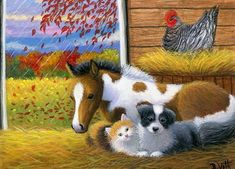 Kitten cat puppy dog foal horse chicken barn autumn original aceo painting art #Realism Bridget Voth (Artist). Ebay ID star-filled-sky