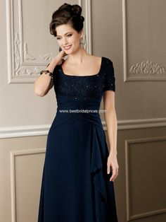 A line long navy blue satin mother of the bride dress with jacket ...