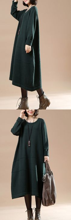 Blackish green long sweaters oversize knit dresses elegant style