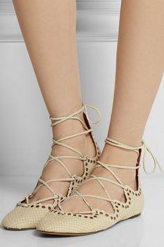 ISABEL MARANT Leo snake-effect Leather Ballet Flats | Buy ➜ http://shoespost.com/isabel-marant-leo-snake-effect-leather-ballet-flats/