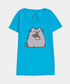 Pusheen eating ramen ladies junior T-shirt... I NEED THIS!!!!!!!!!!!!!!!!!!!!!!!!!!!