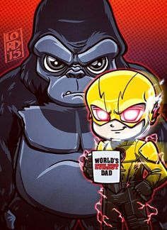 """Lord Mesa-art """"worlds evilest dad"""" Grodd and Reverse Flash - The Flash 1x21"""
