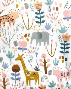 I just adore the new range that the lovely babywear team have created with my print. In store now! Pattern Design Drawing, Surface Pattern Design, Pattern Art, Kids Patterns, Cool Patterns, Print Patterns, Kids Brand, Safari, Watercolor Animals