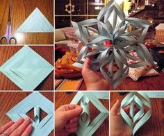 These paper snowflakes are fun and easy to make.  Have fun with the family with this paper craft that will make great decorations for Christmas and Winter.