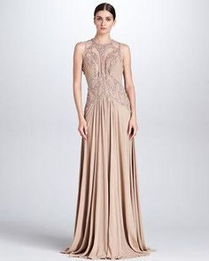 Women's Beaded Cutout Gown, Bisque -...