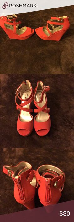 Wedge sandals Red wedge Sandal Size 8  New Shoes Wedges