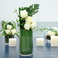 Z modern minimalist home decoration table floral spirit [elegant white rose]+ Po ye whole floral Lynx