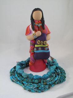 Indian Maiden figurine with southwest blanket by ClayTwister