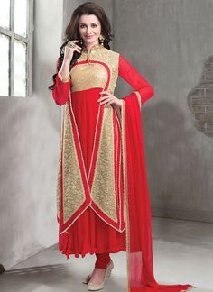 Red Georgette Jacket Style Anarkali