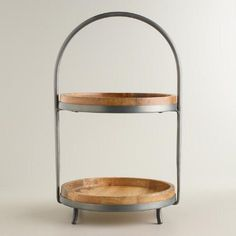 One of my favorite discoveries at WorldMarket.com: Wood and Metal 2-Tier Serving Stand