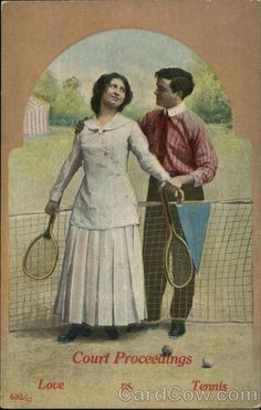 Woman And Man Hold Tennis Rackets Near The Net. Court Proceedings: Love vs Tennis. 1910 postcard.