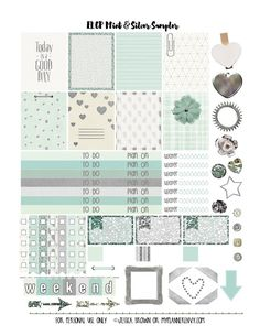 FREE Mint & Silver Sampler - Free Planner Printable : My Planner Envy