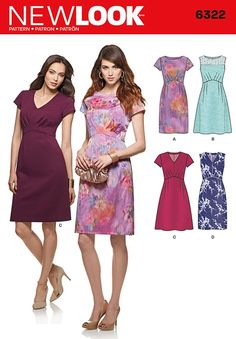 Misses Dress with Bodice and Skirt Variations New Look Pattern 6322. Size 8-18.